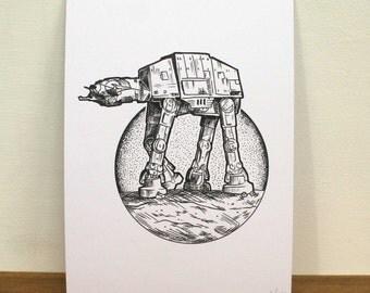 Star Wars ATAT Print (A5)