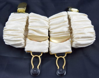 Pair of Detatchable Silk Covered Suspenders - Cream and Gold