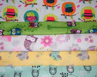 5 FQ Bundle – Cute & Playful OWLS 100% Cotton Quilt Craft Fabric Fat Quarters