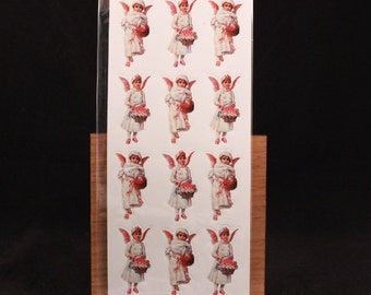 Vintage Shackman Victorian Snow Angel 3 Sheets Diecut and Pressure-Sensitive Stickers. Sealed