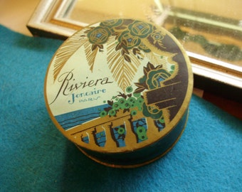 Antique Art Nouveau FRENCH POWDER BOX -Full Sealed -Litho Paper Container -Gold Gilt -Made in France -Vintage Paris Riviera Joncaire Perfume