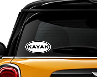 Kayak decal, boating decal, window decal, FREE SHIPPING, White vinyl decal, outdoors decal, laptop decal, water sports #169