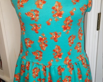 Teal and Coral Peplum Top