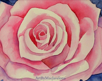 """Pink Rose, Original Watercolor Painting, 5""""X7"""""""