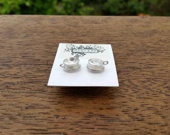 Sterling silver tea cup earrings