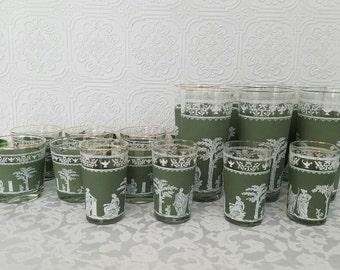 Vintage Cocktail Glasses, Cocktail Glasses Set, Green Hellenic Glasses, Grecian Glassware Set, Vintage Barware Set, Collectible Glass