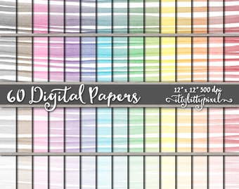 Watercolor Scrapbook Paper, Striped Scrapbooking Paper, Painted Digital Paper, Watercolor Paper, Hand Painted Paper Printable Commercial Use