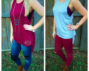 SALE!!!! Monogrammed side fringe top/ tank/ womens top