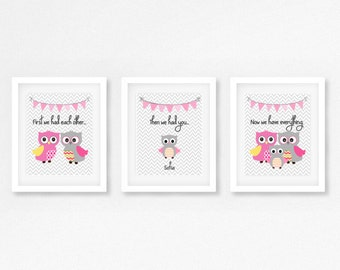 Baby Girl Nursery Decor, Owl Nursery Decor, Personalized Print, New Baby Gift, Pink Grey Nursery, First We Had Each Other Then We Had You