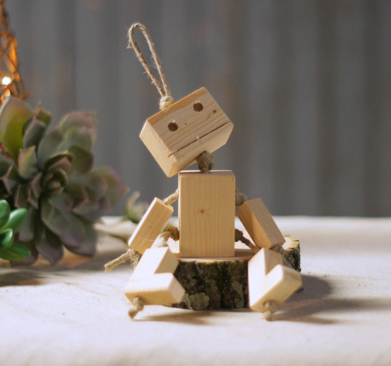Mini Robot Key Chain Wood Robot Wooden Robot Toy Keychain