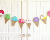 "Made-To-Order ""Ice Cream Cones"" Burlap/Felt/Fabric ~ party, birthday, treats, treat table, bridal, playroom, goodies"