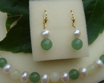 Gold plated earrings with beads and Aventurine! A beautiful combo!