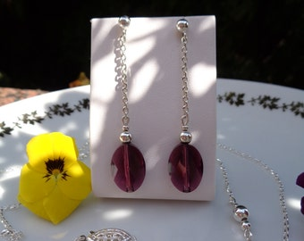 Silver earrings, sterling silver with Crystal glass stone in purple