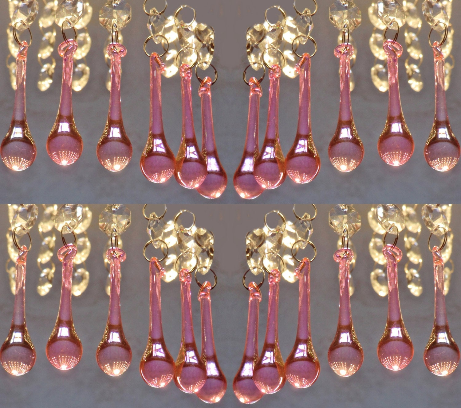 24 hot pink chandelier drops glass crystals shabby droplets chic 24 hot pink chandelier drops glass crystals shabby droplets chic orb drop prisms vintage christmas tree wedding decoration light parts beads mozeypictures