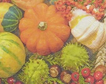Set of 2 pcs 3-ply ''Colorful pumpkins'' paper napkins for Decoupage or collectibles 33x33cm, Autumn napkins, Tissue napkins, Decopatch
