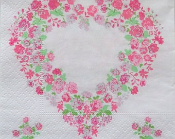Set of 3 pcs 3-ply ''Heart of roses'' paper napkins for Decoupage or collectibles 25x25cm, Floral napkins, Decopatch napkins, Servetten
