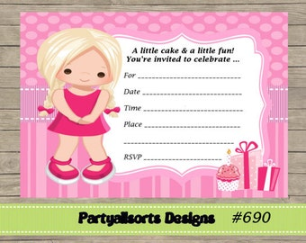 DIY -  FILL IN Yourself Birthday girl/Cake Party Invitations