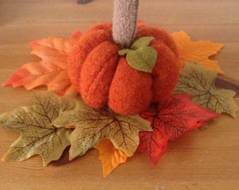 Woolly pumpkin decoration soft sculpture