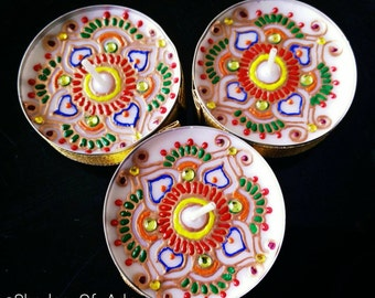 Set Of 5 Multicolor Jumbo Tealights Hand Painted Henna Tealight Candles Diwali Decor