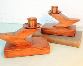 Mid Century Wood and Copper Taper Candle Holders