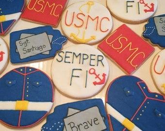 US Marine Corps Custom Sugar Cookies (one dozen)