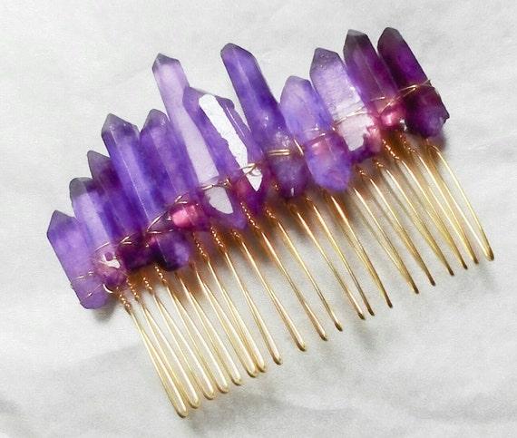 Crystal quartz hair comb Gemstone hair slide Raw gemstone  Real