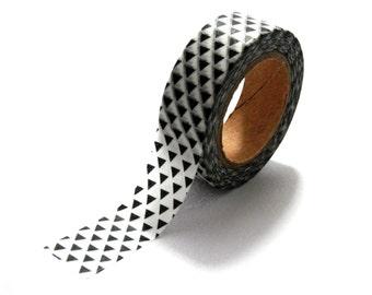 10m White and Black Triangles Geometric Washi Tape Paper Masking Tape 15mm