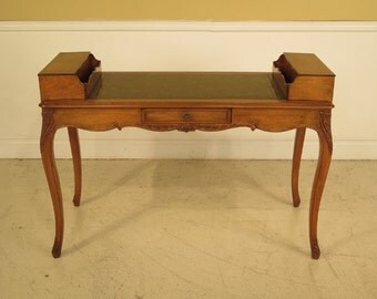 L28478EC: French Louis XX Walnut Writing Desk w. Faux Books