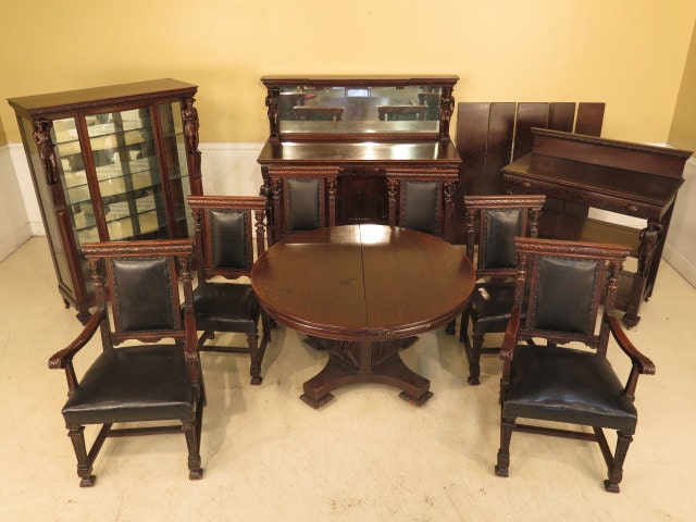 f23840 antique 10 piece american oak dining room set w