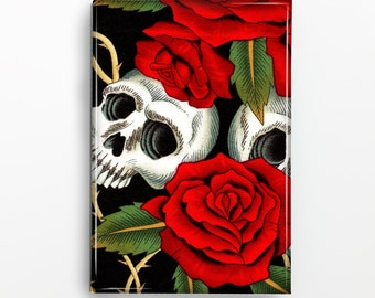 Day of the Dead Skull and Red Roses Rectangle Magnet 113