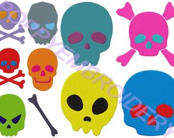 SKULL head  Design for Embroidery machine / tete de mort motifs pour broderie machine / INSTANT DOWNLOAD