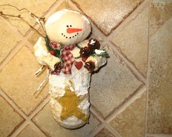 Rustic Snowman, Snowman Hanger, Snowman Decor, Primitive Snowman