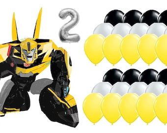 Transformers Bumble Bee Birthday Balloon Bundle [With Airfill Mylar Age, 30 Latex and Airwalker]