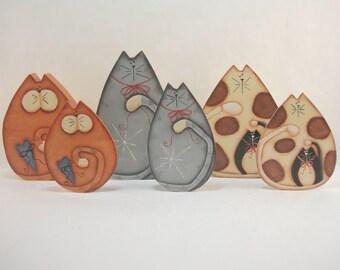 Sitting Pretty Kitties, Item #CC247, Cat Fridge Magnets and/or Shelf Sitters, ByBrendasHand, Cat Decor, Cat Decorations, Cat Love