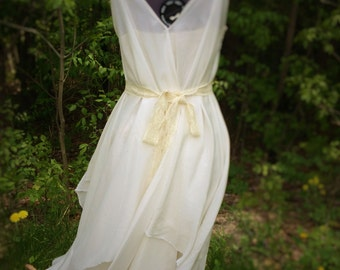 Silk and vintage lace boho wedding dress, medium