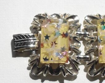 """"" Wide (154) Bracelet ""Lucite confetti"", to 1940"