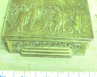 Vintage Heavy Brass Jewelry/Trinket Box
