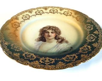 Rosenthal Malmaison Bavaria Portrait Plate Cake Antique Serving Gold Filigree German Made in Germany Victorian Edwardian Era 1898-1906