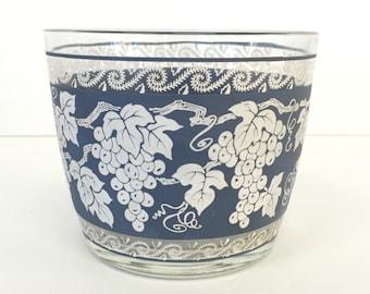 Hazel Atlas Ice Bucket Blue White Grapes Leaves Vintage
