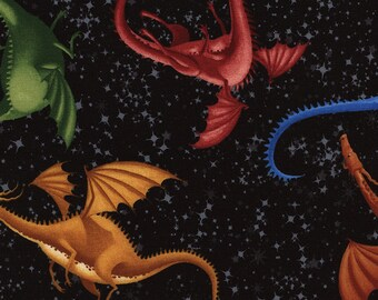 Cotton Quilting Fabric by the Yard - Multi Color Dragons