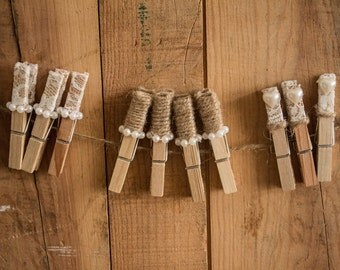 Rustic wedding pegs.