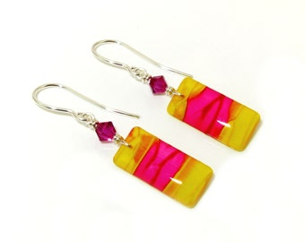 Limited edition hand painted yellow and pink earrings with Swarovski crystals and handmade sterling silver findings