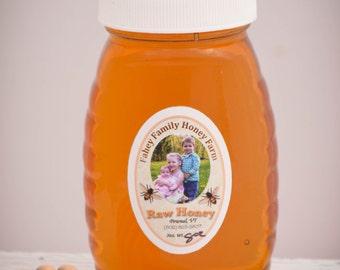 raw Vermont wildflower honey, raw honey, unpasteurized honey, wildflower honey, 8oz. glass jar, all natural honey