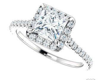 Princess Cut Halo Engagement Ring - 1.42ctw Princess Cut Forever Brilliant Moissanite and Diamonds