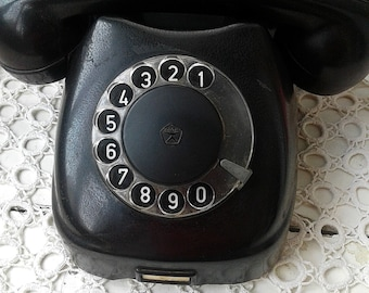 Rotary desk phone Soviet Vintage Telephone set Rotary Dial Phone Telephone Black Soviet telephone