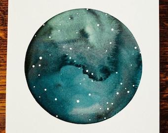 Starry Moon - Original Watercolor - 8x10 Gray and Navy Blue Swirl - Home Decor - Celestial Art - Celestial Nursery - Sky - Starry Sky