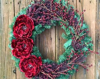 Holiday Wreath, Christmas Wreath, Holiday Door Wreath, Christmas Door Wreath, Holiday Berry Wreath, Holiday Decor, Christmas Decor