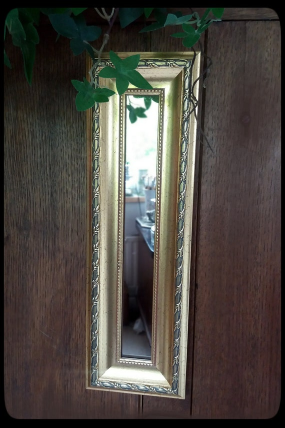 Vintage gilded frame small decorative wall hanging mirror for Small hanging mirror