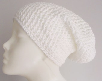 Beanie, wolly hat, crochet hat, white, pure cotton