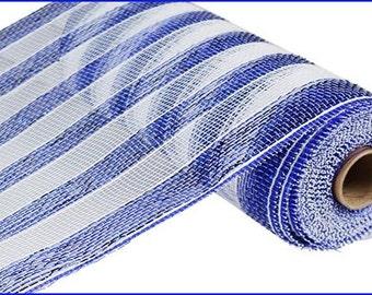"""10"""" X 10yd Royal Blue/White Stripe Deco Mesh"""